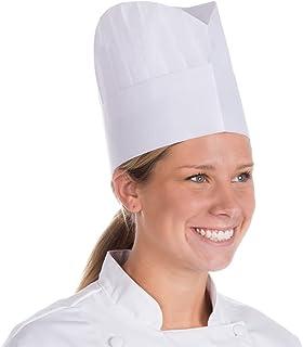 批量白色厨师帽。粘胶纤维发罩带褶皱头帽, Le Toque.