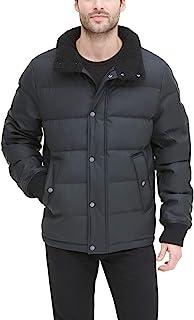 DKNY 男式仿皮羊羔绒领超软棉服