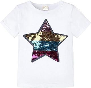 幼儿小男孩女孩魔术翻盖亮片蜘蛛侠 T 恤,短袖圆领套头 T 恤上衣