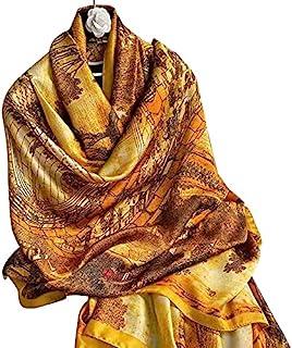 优雅中国风格 [清明河边场景] 印花,丝绸正方形丝绸围巾,女士披肩,尺寸 18090 厘米