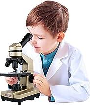Click N' Play 儿童显微镜 3种放大倍率(40x 100x 400x)包括幻灯片科学实验与配件 便携式学生金属显微镜 52