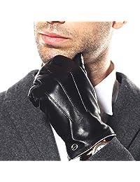 奢華男式觸摸屏紋理冬季意大利羊皮連衣裙駕駛手套(羊絨/羊毛/羊毛襯里)