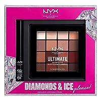 NYX 專業化妝鉆石和冰影和眼線套裝 - 啞光液體眼線筆 + 終極眼影盤 - 溫暖中性色