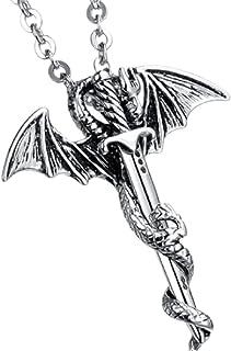 MayiaHey 翼龙剑男士项链不锈钢龙项链十字剑项链男孩款