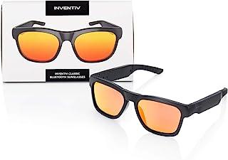 Inventiv 无线蓝牙音频太阳镜,开放式耳机音乐和免提通话,男女皆宜 偏光眼镜镜片(黑色框架/红色)