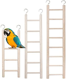xiaoqun 3 件木制梯子适用于鸟鹦鹉梯攀岩玩具鸟儿基础知识(4 步,6 步,8 步)