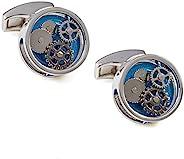 Tateossian 圆形齿轮袖扣 带蓝色 Perspex