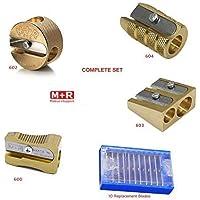 完整套装 4 种风格的 Mobius + Ruppert (M+R) 黄铜铅笔刀 + 10 个替换刀片 - 世界上*精细…
