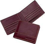 Louis Montini 男式真皮钱包全粒面钱包双折钱包和 RFID 屏蔽卡包手包 烈红色 大