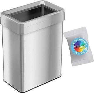 iTouchless 开放式垃圾桶,带 AbsorbX 气味控制系统,超节省空间大容量商业级,适用于家庭、办公室、车库、商务、不锈钢 Stainless Steel, Rectangular 18 Gallon OT18RTS-1