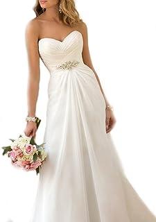 WeddingDazzle 女式雪纺海滩婚纱甜心加大码婚纱礼服
