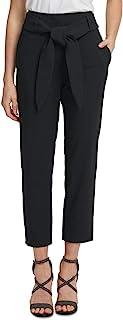 DKNY 女式黑色束带直筒裤工作裤尺码 14
