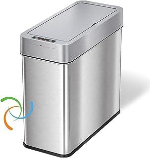 iTouchless、节省空间的垃圾桶,适用于浴室、厨房、办公室、酒店 4 加仑(约 1.9 升)垃圾桶侧盖打开 AbsorbX 气味控制 15 升超薄不锈钢自动垃圾篮,004 加仑(约 1.9 升)左侧传感器