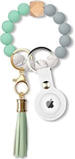 硅胶钥匙圈手链带 AirTag 钥匙扣串珠弹性手镯钥匙链手链带皮革流苏 适合女士