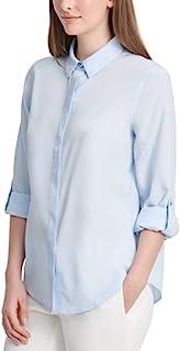 DKNY 实用纽扣衬衫,蓝色,XS 码