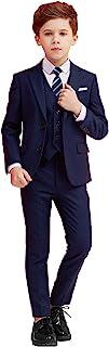 男童套装 5 件修身套装,适合儿童正装戒指承重套装