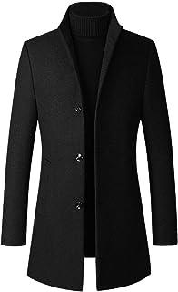 LaovanIn 男式风衣冬季长款夹克商务羊毛混纺豌豆外套单排扣外套防风