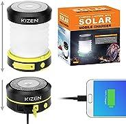 Kizen 太阳能 LED 露营灯 - 太阳能或 USB 充电,可折叠节省空间设计,应急移动电源,手电筒,防水。适用于户外夜间徒步野营草坪!