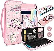 TCJJ 独角兽硬壳手提箱 适用于任天堂 Switch- 粉色便携式旅行保护套带柔软 TPU 保护套兼容任天堂 Switch 女孩