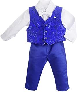 Dressy Daisy 男婴西装绅士婚礼套装 4 件套正式礼服连衣裙波浪长袖