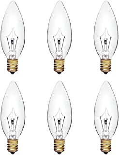 25W B8 白炽灯透明枝形吊灯灯泡,鱼雷尖,E12烛台底座,160流明,可调光,120V(6件装)