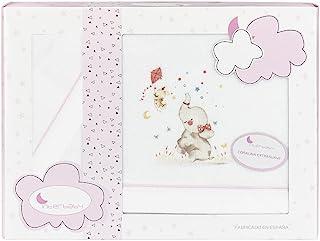 Coralina 婴儿车床上用品套装,白色和粉红色