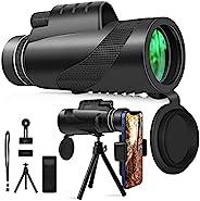 单筒望远镜,WIIBROOK 12x50 高清单筒望远镜宇宙望远镜日和低夜视,带智能手机支架和三脚架 BAK4 棱镜,适用于徒步旅行、观鸟