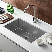 32 英寸(约 81.3 厘米)厨房水槽,18 号单槽不锈钢水槽下安装带过滤器和底部网格