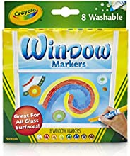 Crayola 8 只装可洗窗户马克笔 车窗记号笔 1包 混装。