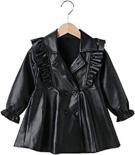 幼童女童摩托车仿皮连衣裙长夹克外套冬季外套 适合 2-7 岁