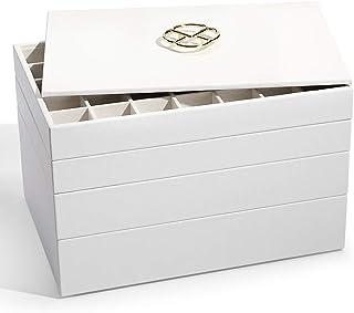 Vlando 珠宝托盘首饰收纳盒 适用于抽屉 首饰收纳盒 托盘 珠宝抽屉 收纳盒 可堆叠 首饰收纳盒 抽屉 首饰收纳袋 全套 白色