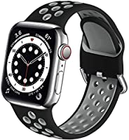 Muranne 兼容 Apple Watch 苹果手表带 42 毫米 44 毫米男式,软硅胶腕带替换运动环,兼容 iWatch SE 系列 6 5 4 3 2 1,黑色/灰色,M/L