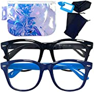 儿童蓝光阻挡眼镜 - **、*干燥、*和模糊视觉,瞬间阻挡电脑和手机屏幕的眩光,带测试器和外壳(2 件装 - 黑色/*蓝)