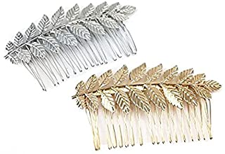 yueton 2pcs Gold and Silver Leaf Olive Branch Leaves Fashion Ladies Bride Wedding Hair Combs Headdress Hair Pins