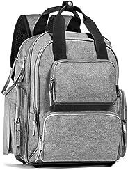 婴儿尿布包背包 - 大容量 - 旅行包 - 妈妈或爸爸推车带 - 中性灰色-淋浴礼品-绝缘口袋-底部铆钉-更换垫