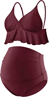 Bhome 孕妇两件套比基尼套装高腰泳衣荷叶边夏季泳装