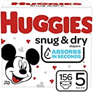Huggies Snug & Dry 婴儿尿布 NEW One Month Supply Pack Size 5 (156 Co