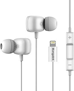 Mangotek Lightning 耳塞耳机入耳式耳机,HiFi 立体声有线耳机带麦克风控制器兼容 iPhone 11/11 Pro/X/XS/XS Max/XR/8/8 Plus/7/7 P/ipad,MFi 认证