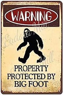 Eudora Mill 警告保护大脚 20.32 厘米 x 30.48 厘米金属锡标志有趣的大脚区复古酒吧家庭男人洞穴车库花园装饰室内/室外庭院标志新奇礼物男孩礼物
