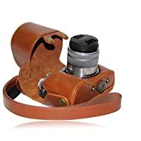 "MegaGear ""Ever Ready""保護淺棕色皮革相機包,松下 LUMIX GX7 的包,帶 14-42mm 和 20mm 鏡頭(淺棕色)"