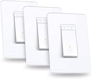 Kasa Smart 智能调光开关 HS220P3,单刀,需要零线,2.4GHz Wi-Fi灯光开关可与Alexa和Google Home配合使用,UL认证,无需集线器,三件装