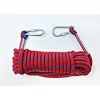 Tufterrain 多功能绳,长 10 m(32 英尺),直径 10 mm(3/8 英寸),防火逃生*,发绳,户外救援绳,带 2 个卡宾枪。