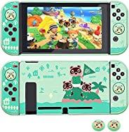 LASTYAL 保护套适用于 Nintendo Switch - 动物交叉风格,可插式保护套硬质保护套适用于 Switch 和 Joy-Con 控制器,带 2 个拇指握把