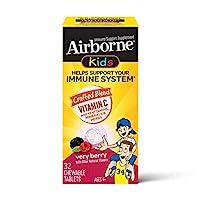 Schiff 旭福 Airborne 维生素C 500毫克/次 儿童浆果味咀嚼片(一盒32粒)无麸质 含维生素A C E、抗氧化剂、锌和硒