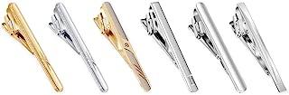 EvmAsaLQ 6 件男士领带夹,适合常规领带,领带夹金,银色和礼品盒..