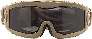Lancer Tactical AERO 3mm 厚双面板镜片*防护*护目镜系统 ANSI Z87 1 额定行业标准面板通风,带防刮护罩,完全可调节 Tan/Smoke