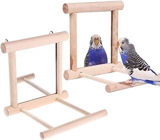 Lemengtree 鸟镜,鸟秋千鹦鹉笼玩具秋千悬挂游戏带镜子适用于小鸟灰色长尾鹦鹉鹦鹉鹦鹉鹦鹉鹦鹉鹦鹉(2 件)