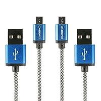 CABBRIX 微型 USB 數據線 尼龍 2.4 A [快速充電線] 高速同步/充電線 1.5 米 / 2 米 / 3 米 2x 2m