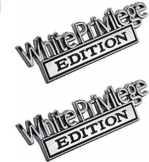 白色特权字母版徽章汽车徽章,2 件铬合金卡车金属汽车烧烤徽章帽装饰贴花双贴花 3D 凸起强力粘合车辆贴纸适合所有汽车银色 黑色