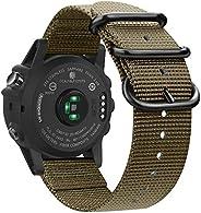 Fintie 表带 与Garmin Fenix 5X Plus / Tactix Charlie手表,26毫米优质编织尼龙 可调替换表带 兼容Fenix 5X / 5X Plus / 3/3 HR / Tactix Ch